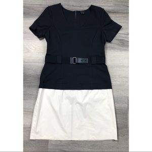 Theory dress 10 color block belted career elegant